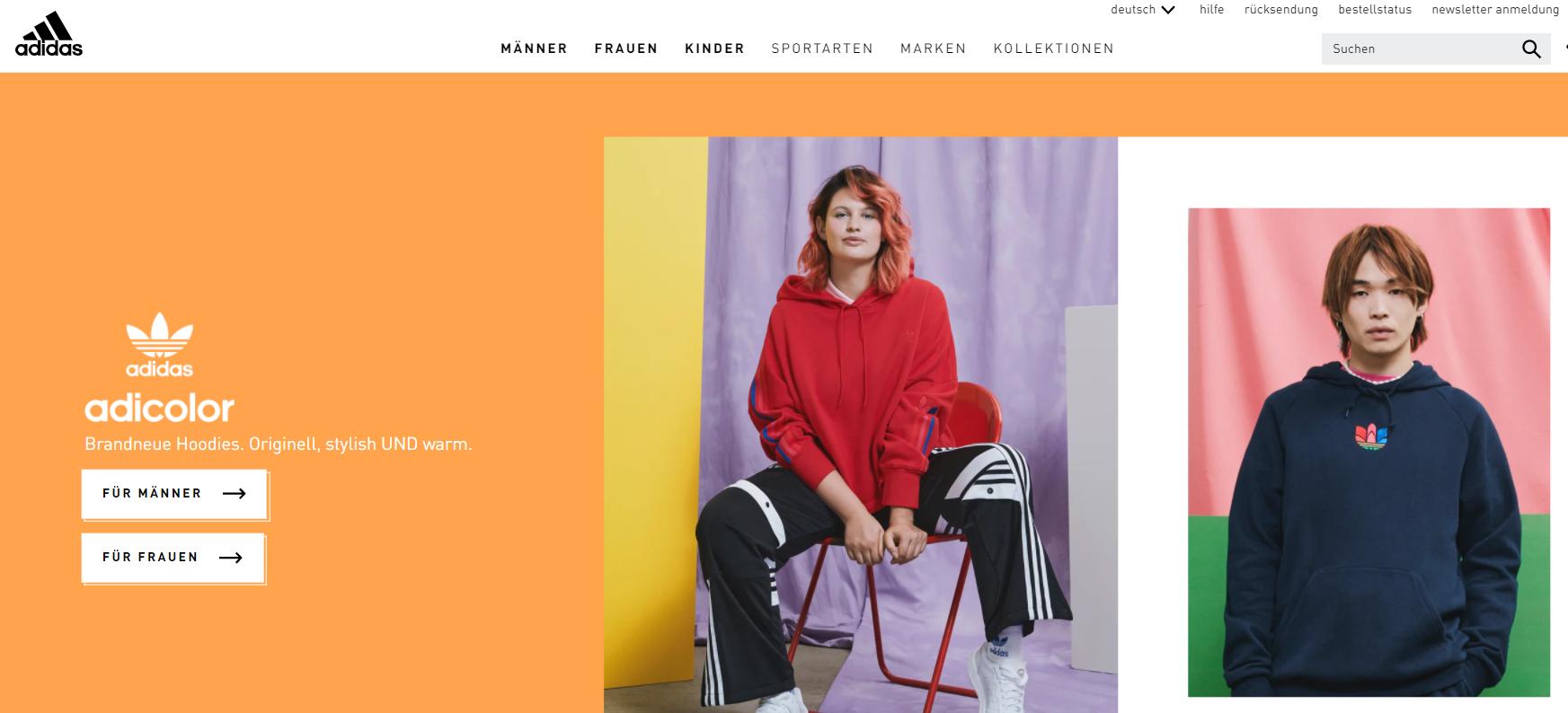Die Adidas Startseite