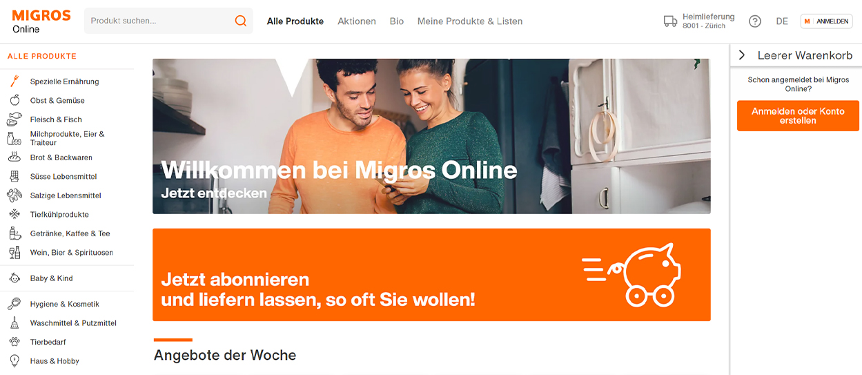 Aus LeShop wird Migros Online. Neuer Internet-Auftritt, neue Navigation - besserer Services.