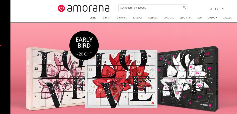 Amorana Startseite mit Kategorien