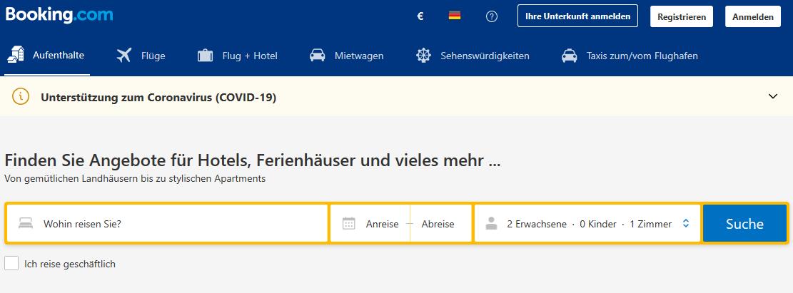 Booking.com Kategorien auf der Startseite