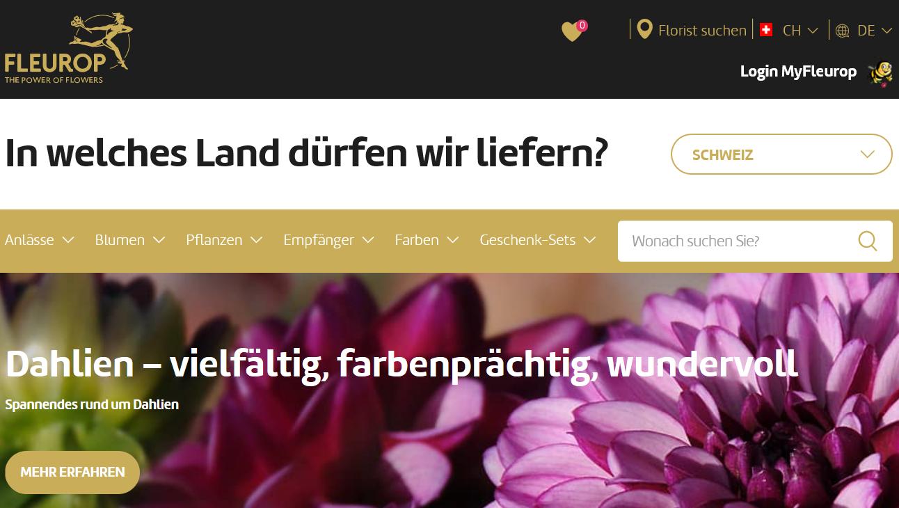 Fleurop Startseite und Kategorien