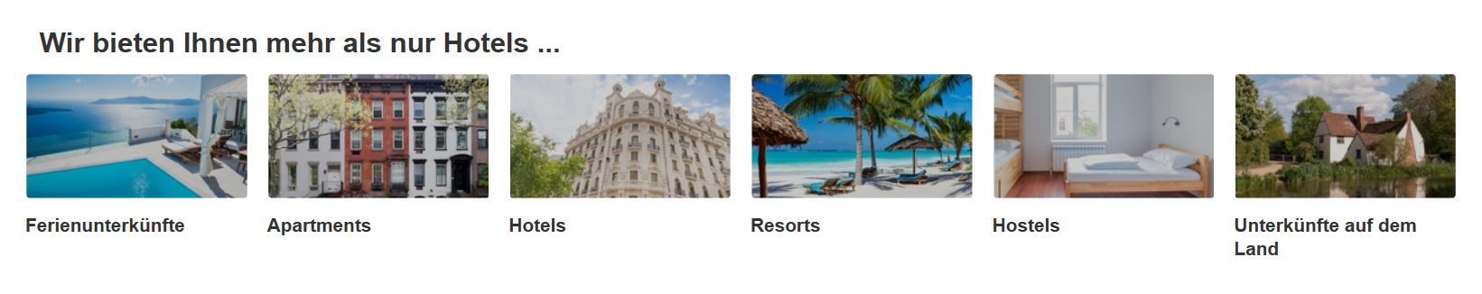 Die Kategorien von Hotels.com