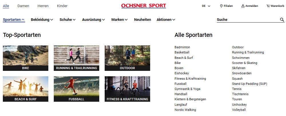 Ochsner Sport Kategorien