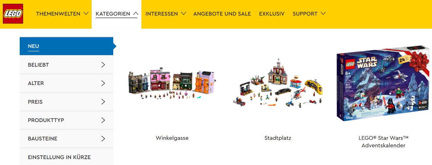 Die Lego Startseite und ihre Kategorien