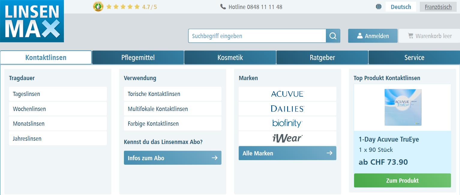 Die Startseite von LinsenMax