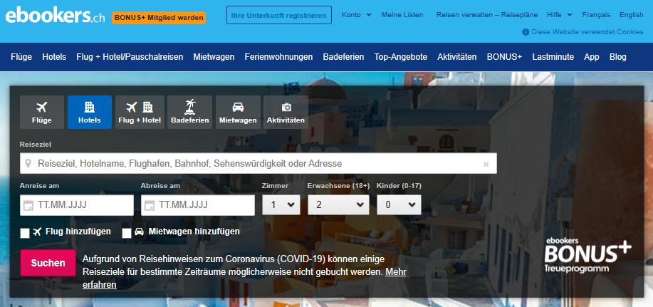 Die Startseite von ebookers