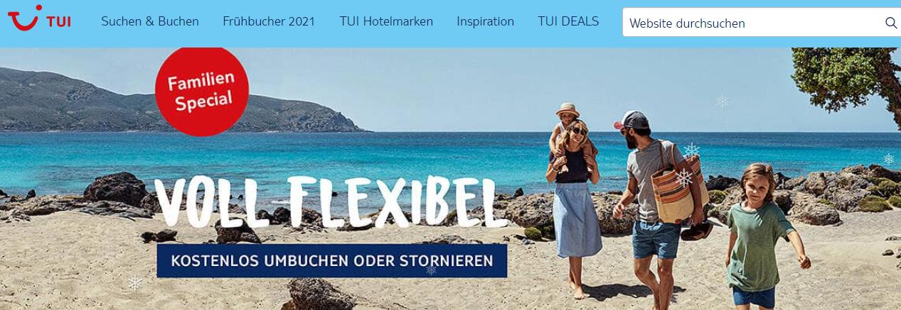 Die Startseite von TUI