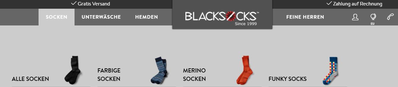 Die Startseite von Blacksocks