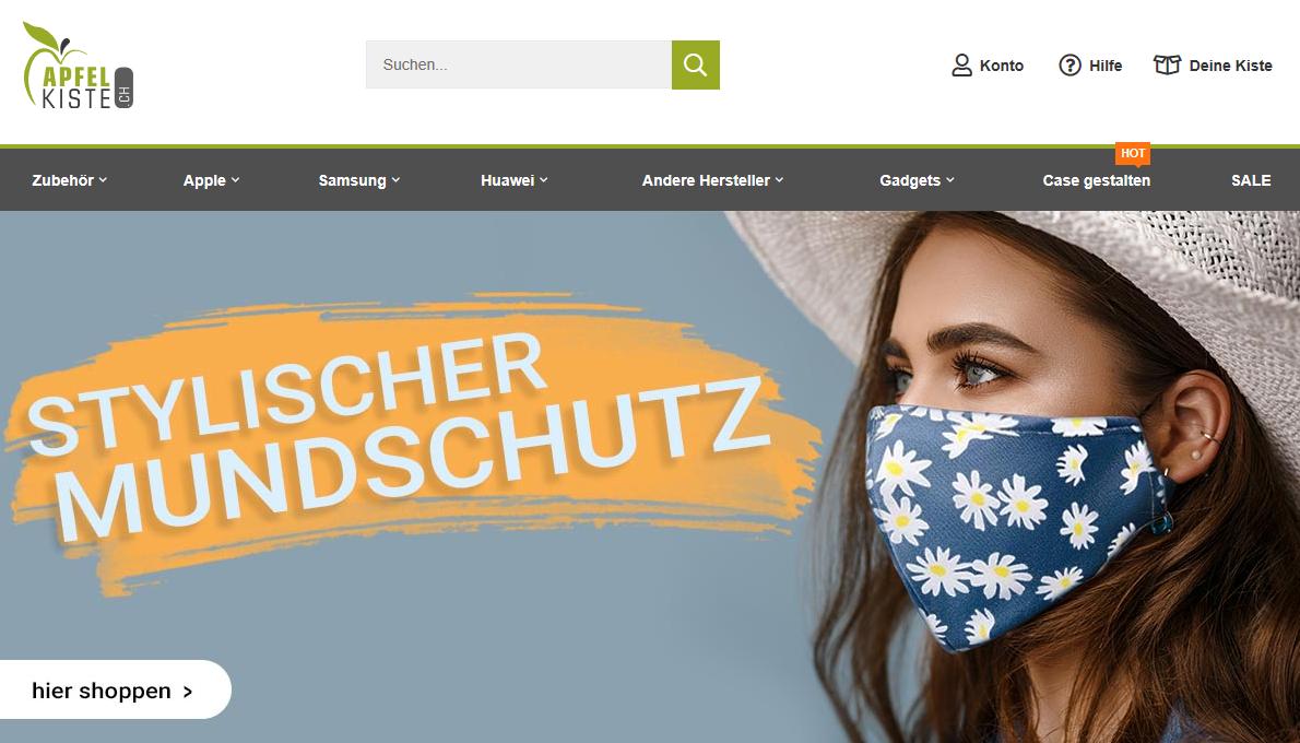 Apfelkiste Startseite mit stylischem Mundschutz