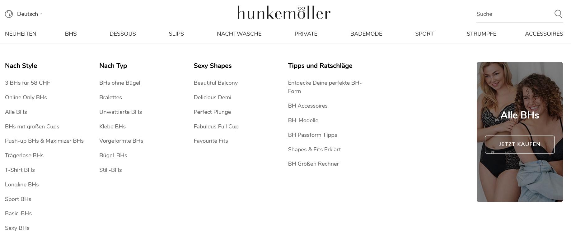 Die Kategorien von Hunkemöller