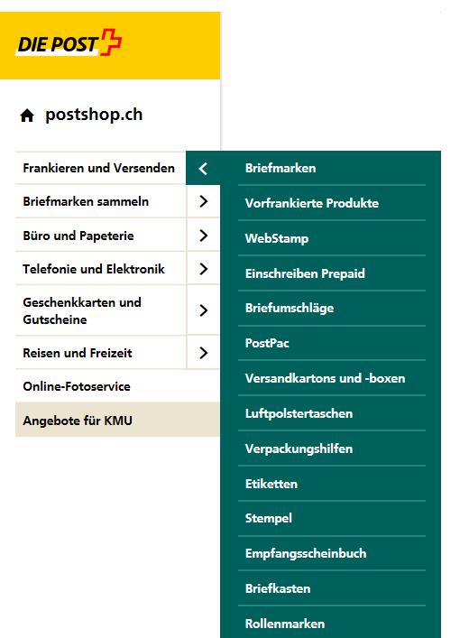 Die Kategorien von Postshop